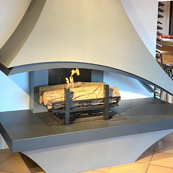 Chenets avec brûleur bioéthanol art déco 55 cm