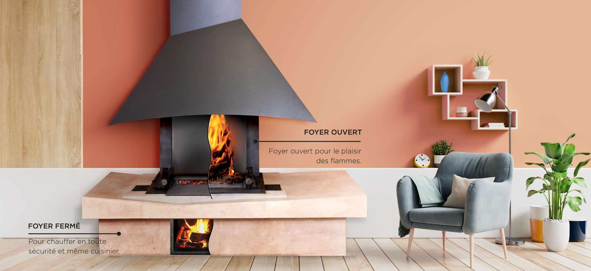 Double foyer à bois Polyflam avec 4 fonctions