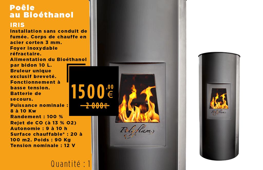 Déstockage Poêle bioéthanol IRIS